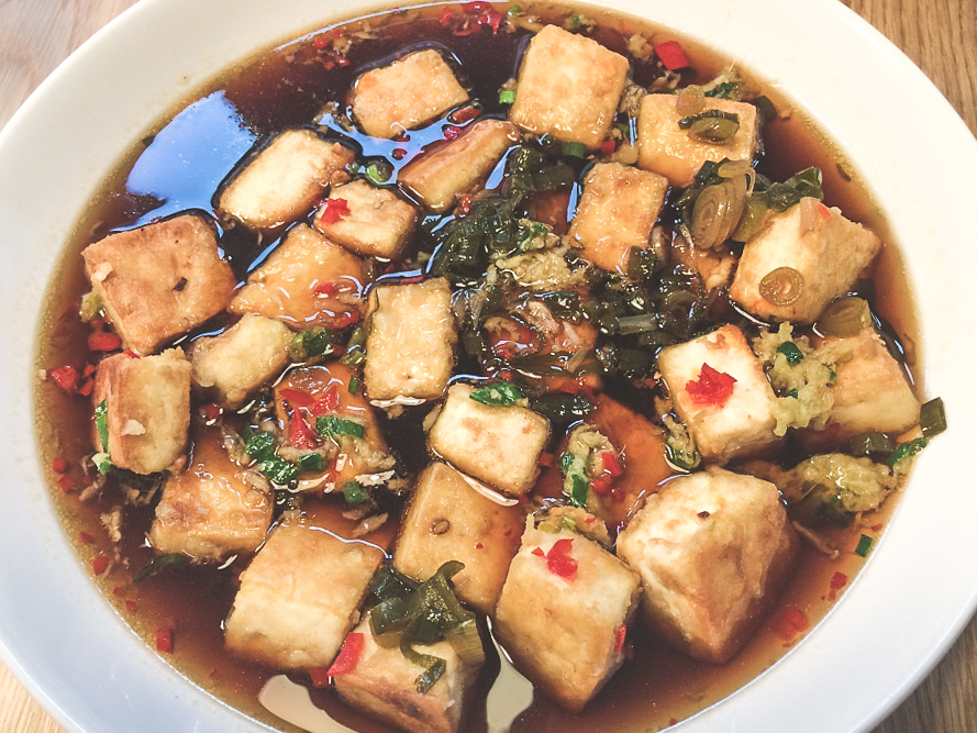 Japanese Tofu Squares Soaked in Ginger, Spring Onion & Soy Sauce