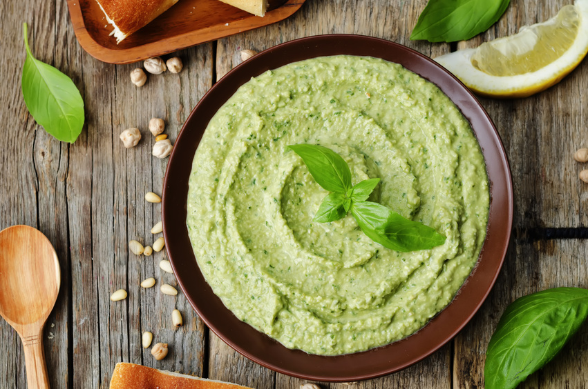 basil pesto hummus homemade