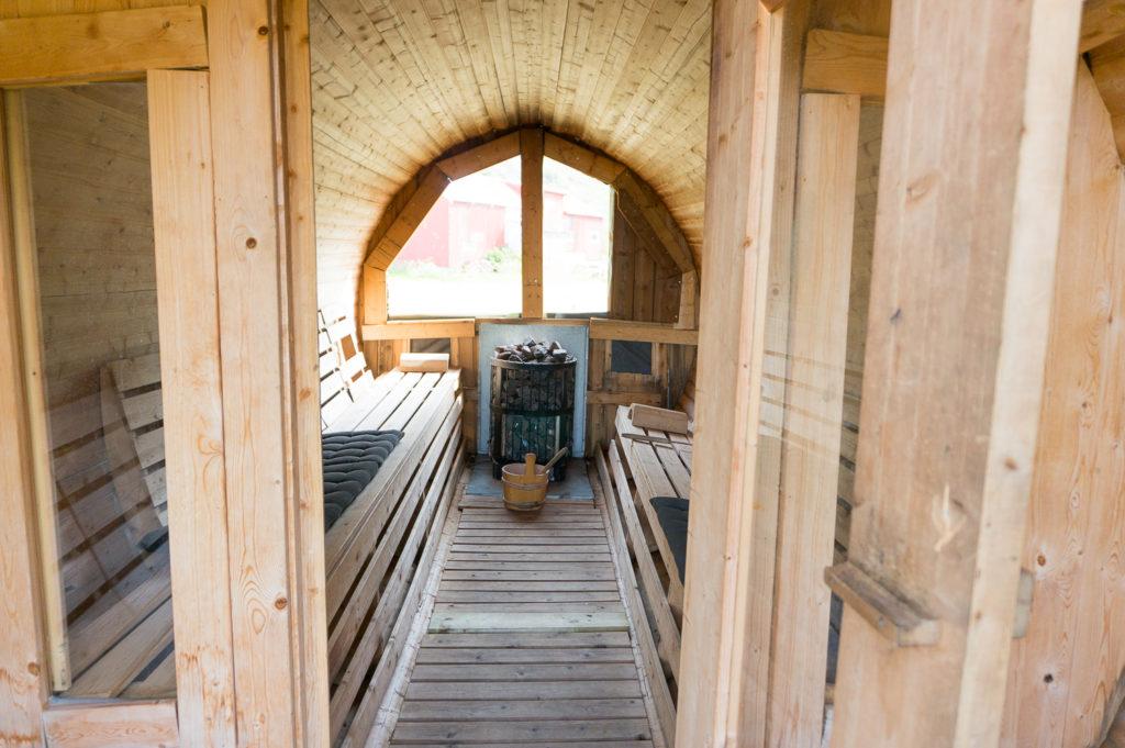 sauna, arctic surf camp lofoten